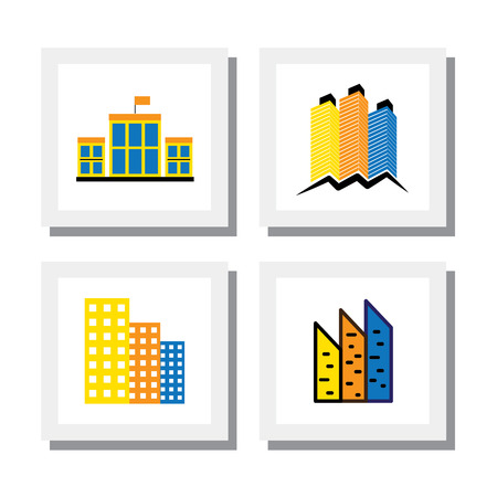 hospital sign: set of logo designs of colorful buildings & houses Illustration