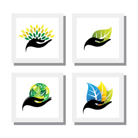 hand logo: set of logo designs of hand holding colorful leaves