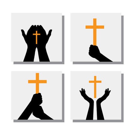 hand silhouette: set of hands holding christian cross