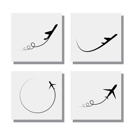 set of airplane taking off and flying designs Illustration