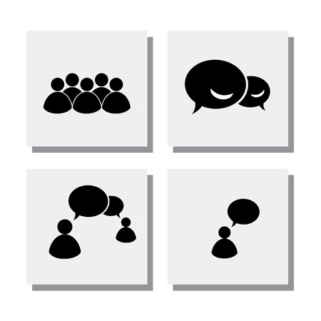 communication icons: set of people discussing in a meeting