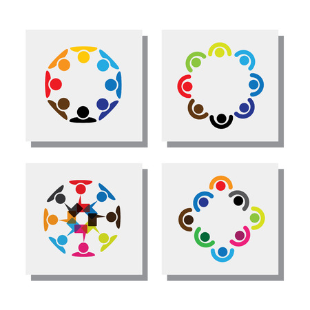 team cooperation: set of logo designs of employees in circles - vector icons. this also represents concepts like employee meetings, workers solidarity, unity and cooperation, team and teamwork