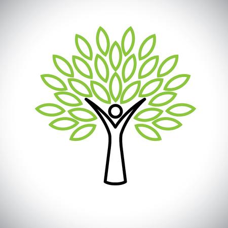 사람들 녹색 잎 - 에코 개념 트리 라인 아이콘 벡터입니다. 이 그래픽은 또한 환경 보호, 자연 보호, 친환경, 재생 가능, 지속 가능성, 자연 사랑을 나타