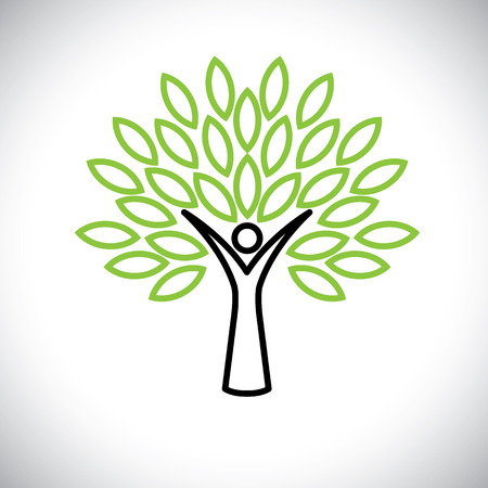 people tree line icon with green leaves - eco concept vector. This graphic also represents environmental protection, nature conservation, eco friendly, renewable, sustainability, nature loving Illustration