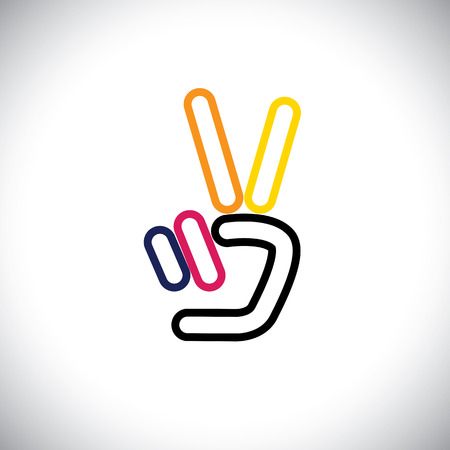 the triumph: v hand victory symbol vector logo line icon. this icon can also represent victory, winner, winning, success, progress, triumph, number 2, two