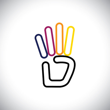 line hand symbol for number 4 vector logo icon