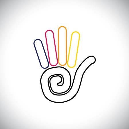 kids hand: stop hand sign colorful vector logo line icon. this also represents greetings like hi, hello, waving hand at others, showing number 5, asking to wait, kids coloring hands