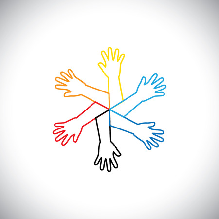team hands: concept vector icon of hands as a circle. this graphic also represents team, teamwork, supports system, community, partnership, friendship, unity, solidarity, togetherness, diversity, molitcolored Illustration
