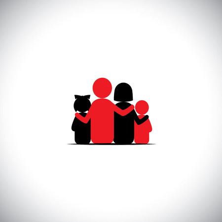 bonding: parents and children together relationship bonding - vector icon. this represents sharing, love, human touch, friendly embrace, empathy, compassion, presence, listening, understanding, togetherness