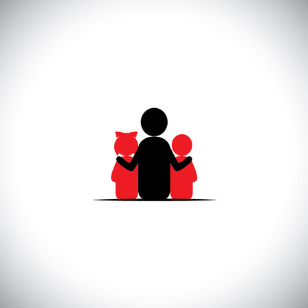 patience: father son & daughter together relationship bonding - vector icon. This also represents sharing, love, human touch, friendly embrace,  empathy, compassion, presence, listening, understanding, patience