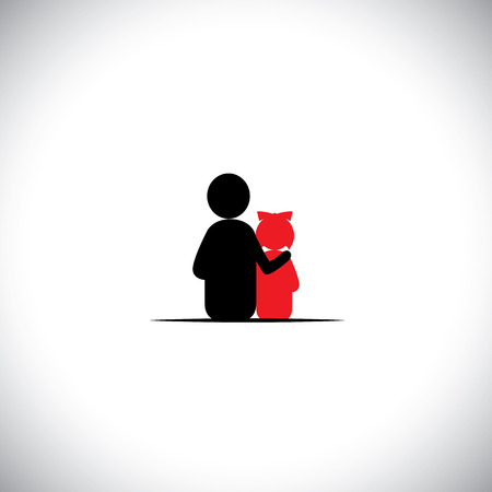 empathy: father daughter together relationship bonding - vector icon. This also represents sharing, love, human touch, friendly embrace,  empathy, compassion, presence, listening, understanding, patience
