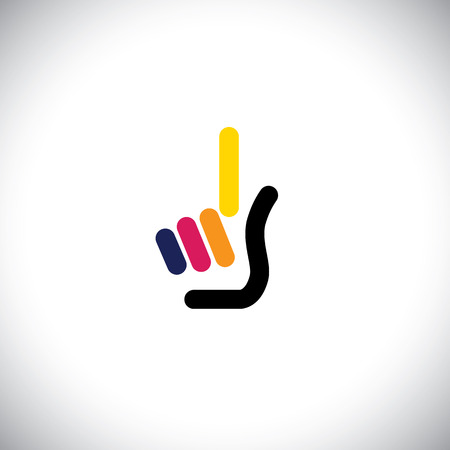 palm with index finger as one concept vector icon. this graphic also represents concepts like out in tennis or cricket, one time, once, raising finger, number one, first
