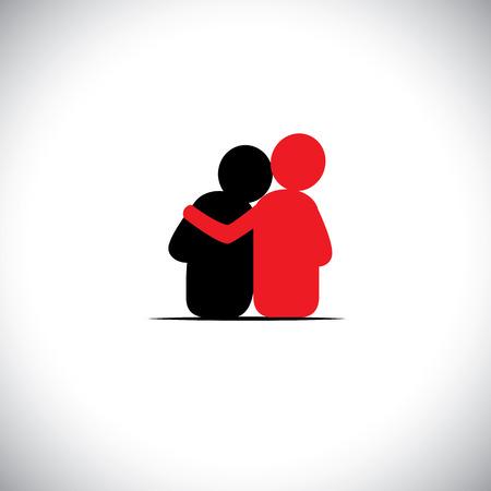 responsabilidad: conjunto de amistad, de dependencia, de empatía, de unión - iconos vectoriales. esto también representa conceptos como la responsabilidad, la preocupación, el cuidado, juntos, la simpatía, la confianza, la fe, la esperanza y la expectativa, la garantía Vectores