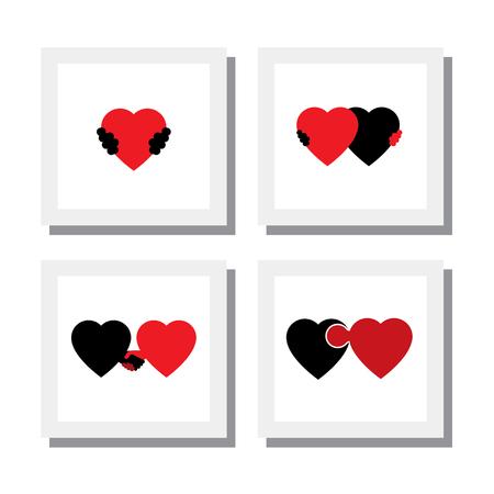 로맨스: 벡터 아이콘 - 공감, 연민, 배려의 마음과 사랑을 상징의 집합입니다. 이 또한 로맨스, 친밀감, 자기 사랑, 자기 존중감, 로미오 줄리엣 로맨스, 관리, 지원, 감정 등의  일러스트