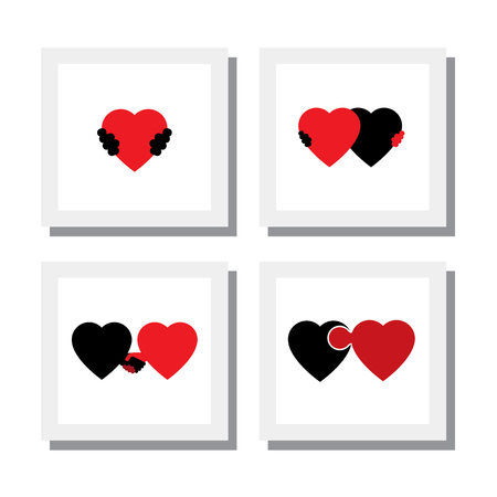 romance: 벡터 아이콘 - 공감, 연민, 배려의 마음과 사랑을 상징의 집합입니다. 이 또한 로맨스, 친밀감, 자기 사랑, 자기 존중감, 로미오 줄리엣 로맨스, 관리, 지원, 감정 등의  일러스트