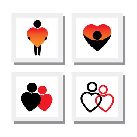 романтика: множество людей, выражающих симпатию, любовь, сочувствие, сострадание - векторные иконки. это также представляет такие понятия, как роман, близость, любовь к себе, чувство собственного достоинства, Ромео Джульетта романтики