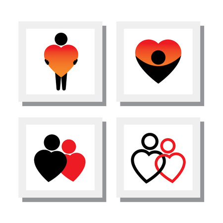 romeo and juliet: set of people expressing sympathy, love, empathy, compassion - vector icons. this also represents concepts like romance, intimacy, self-love, self-esteem, romeo juliet romance Illustration