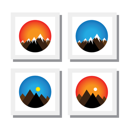 mountain sunset: set of sunset, sunrise on mountain peaks -  vector icons. this also represents concepts like mornings, evening, summer, winter