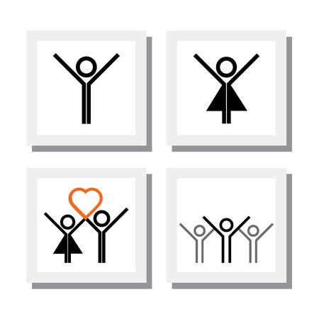 spirited: set of excited, spirited girl boy in love vector icons. this also represents concepts like happiness, excitement, joy, celebration, togetherness, connecting & bonding Illustration
