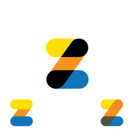 abstract letter Z logo design vector template and colorful creative character icon sign Illustration
