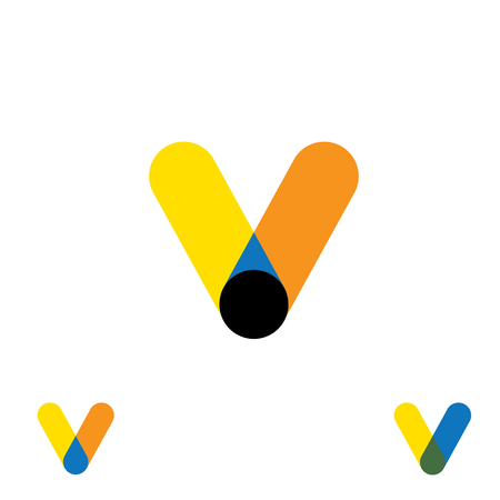 v shape: abstract letter V logo design vector template and colorful creative character icon sign