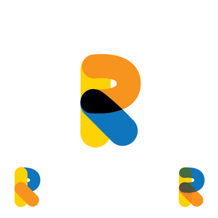 r: abstract letter R logo design vector template and colorful creative character icon sign