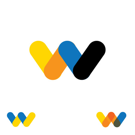 w: abstract letter M W logo design vector template and colorful creative character icon sign