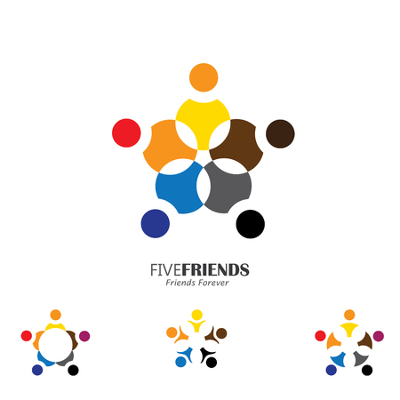 members: concept vector icon of happy friends together in circle. This vector graphic also represents excited kids, motivated staff, inspired office people, happy children playing, friends partying