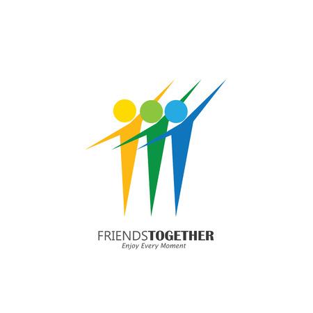 amistad: animado del icono del vector logo concepto feliz gente excitados amigos. Este icono también representa la amistad, la cooperación de asociación, la unidad, el entusiasmo, la felicidad