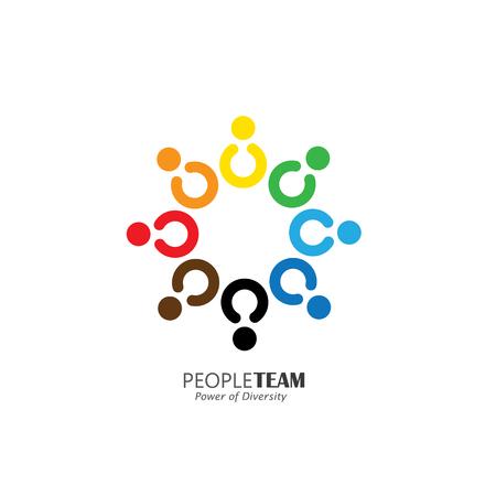 diversidad: círculo de la amistad, la cooperación, icono del vector del concepto de trabajo en equipo. Esto también representa las actividades de diversión, compartir, celebración, estar juntos, la unidad y la solidaridad, felices y alegres