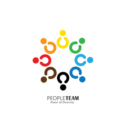 diversity: circle of friendship, cooperation, teamwork concept vector icon. This also represents fun activities, sharing, celebration, being together, unity & solidarity, happy & merry