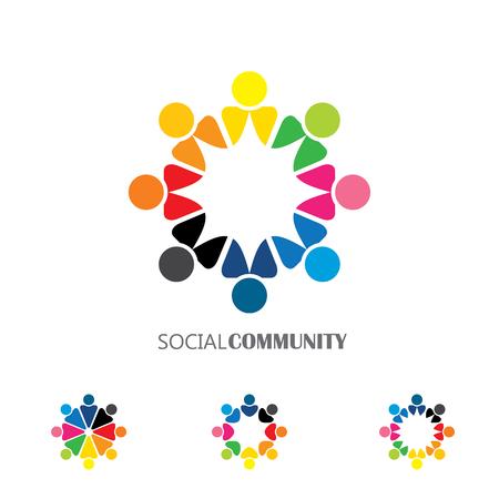 armonia: colección de iconos de personas en círculo - compromiso vector de concepto, unidad. esto también representa comunidad de medios sociales, el líder y el liderazgo, la unidad, la amistad, el grupo de juego, los empleados y reunión