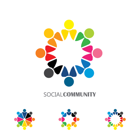 unity: collection of people icons in circle - vector concept engagement, togetherness. this also represents social media community, leader & leadership, unity, friendship, play group, employees & meeting Illustration
