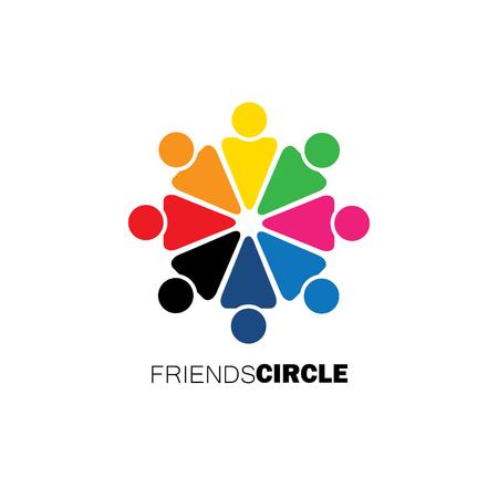 euforia: personas en c�rculo, comunidad o equipo de los ni�os, los iconos empleados vectoriales. Esta ilustraci�n gr�fica tambi�n representa la unidad, el trabajo en equipo, liderazgo, cualidades l�der, la alegr�a, la felicidad, la emoci�n y la euforia Vectores