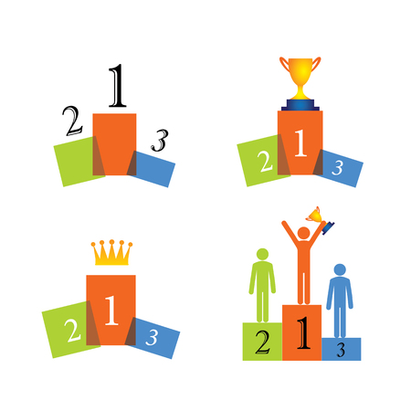 recompense: concept vector icons of winner, podium, success. this graphic also represents beating competition, winning the race, performance, first, second, third, glory, achievement