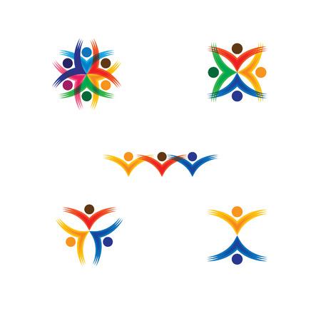čtyři lidé: skupiny lidí ikony barevné v kruhu - vektorové koncepce školy, děti. To také znamená sociální média komunitu, vůdce a vedení, jednotu, přátelství, hrát skupina, zaměstnanci & setkání