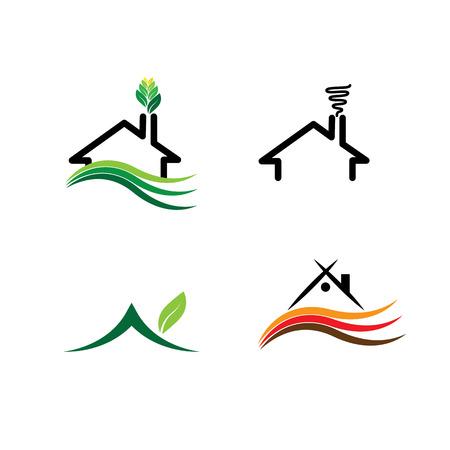 casale: semplice casa, case eco set - loghi concetto di vettore. questa icona rappresenta anche immobiliare, mercato immobiliare, edilizia residenziale, edilizia sostenibile, edifici verdi, ecc Vettoriali