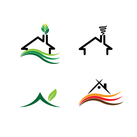 residential house: simple house, eco homes set - concept vector logos. this icon also represents real-estate, property market, residential building, sustainable construction, green buildings, etc