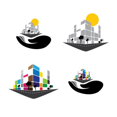 벡터 아이콘 - 홈 아파트, 슈퍼 시장 또는 사무실 공간의 건물입니다. 이 그림은 또한 등 도시의 상업 구조, 호텔, 슈퍼 센터, 은행, 스카이 라인, 고층