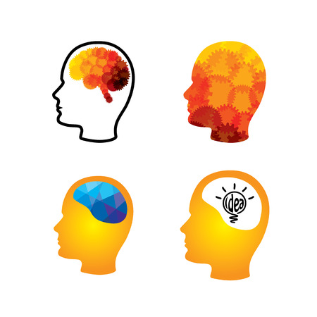 ingenious: vector icon of head with creative ingenious brains. This graphic can also represent creativity, thinking, thought, imagination, idea, solution, problem solving, success, performance