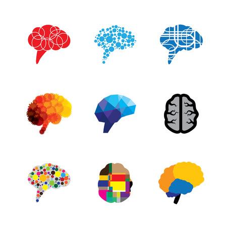 cerebro: concepto logo vector iconos de cerebro y la mente. este gráfico también representa la creatividad, la brillantez, la capacidad, la capacidad, la destreza, la facultad, el genio, la mente de Einstein, la lógica y la lógica