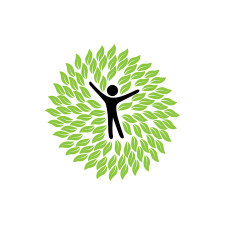 nurture: vector logo icon of person and leaves in circles. this can also represent nurture, protection, providing care, giving support, conservation, eco concept