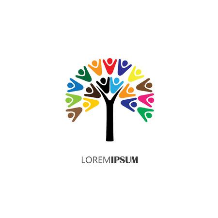 trabajo en equipo: vector icono del logotipo del árbol con las personas. esto también puede representar el trabajo en equipo, la cooperación, la convivencia, el equipo, la organización, los empleados, los niños Vectores