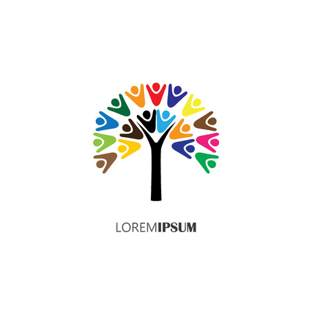 vector logo icon of tree with people. this can also represent teamwork, cooperation, togetherness, team, organization, employees, children Vettoriali