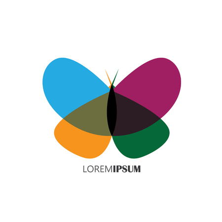 femininity: vector logo icon of beautiful butterfly with colorful wings. this can represent beauty industry, beauty salon, cosmetic labeling, beauty boutique, femininity, beauty, freedom Illustration