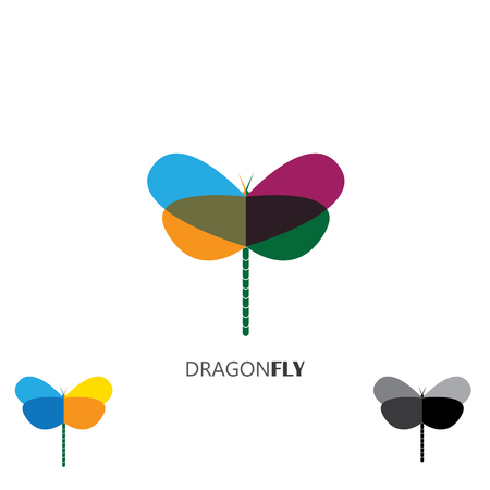 vector logo icon - colorful beautiful dragonflies set Illustration