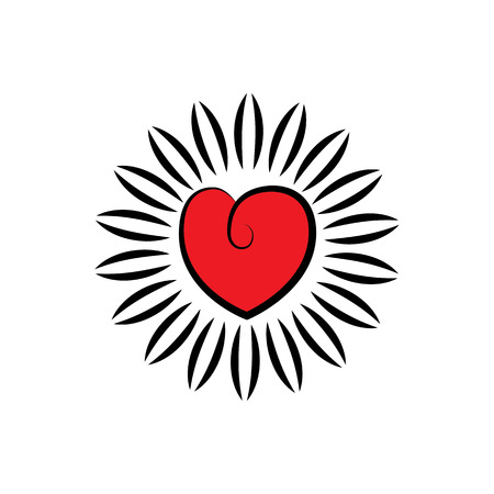 positiveness: vector icon of heart or love as blooming flower. concept of healthy heart, compassion, empathy, positiveness.