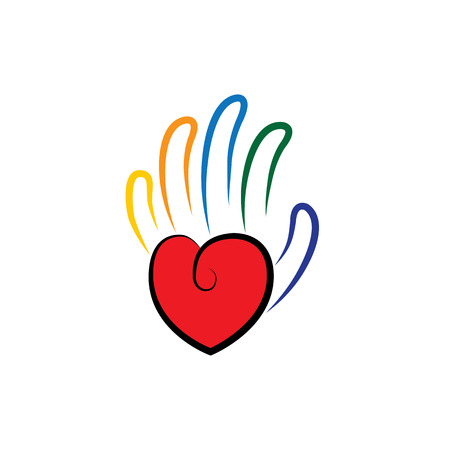 empathy: vector icon of palm in shape of hand and heart with line fingers. concept of giving, charity, donation, compassion, empathy, big heart, love, lavishness, broadminded.