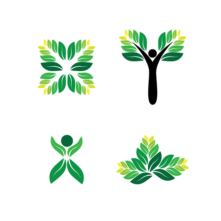 sensitivity: green people, eco, sustainable development vector  icon. this graphic can also represent eco sensitivity, reducing carbon foot print, embracing green technologies, reducing pollution Illustration