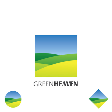 organic:  vector icon of green farm lands. this graphic also represents nature, green ventures, countryside, fields and gardens, organic farming